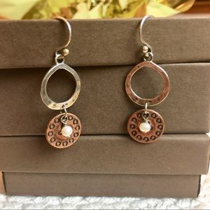 Silpada Sterling Copper Disc and Pearl Earrings